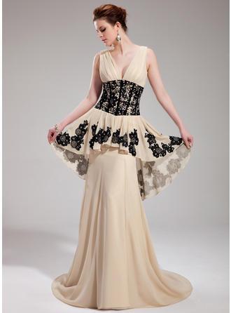 A-Linie/Princess-Linie V-Ausschnitt Sweep/Pinsel zug Abendkleider mit Rüschen Lace Perlstickerei Pailletten