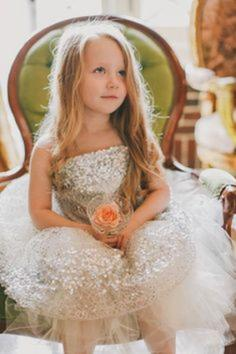 Ball Gown Strapless Tea-length With Pleated Tulle/Sequined Flower Girl Dress