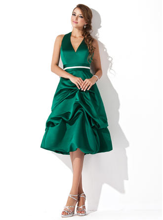A-Line/Princess Halter Knee-Length Satin Bridesmaid Dress With Ruffle Sash