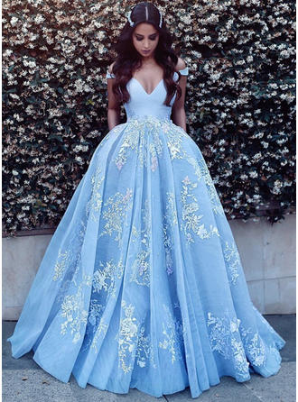 Tulle Sleeveless Ball-Gown Prom Dresses Off-the-Shoulder Appliques Sweep Train