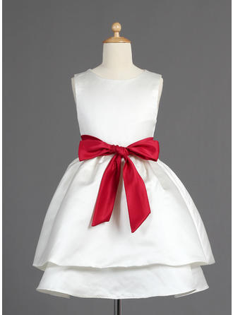 A-Line/Princess Scoop Neck Tea-length With Sash/Bow(s) Satin Flower Girl Dress