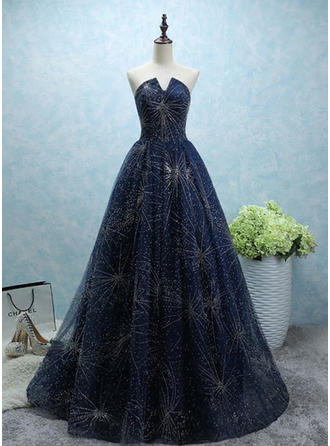 A-Line/Princess Sweetheart Court Train Evening Dresses With Beading Sequins