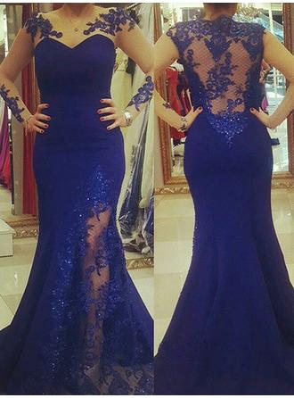 Satin Sleeveless Trumpet/Mermaid Prom Dresses Scoop Neck Appliques Lace Sweep Train