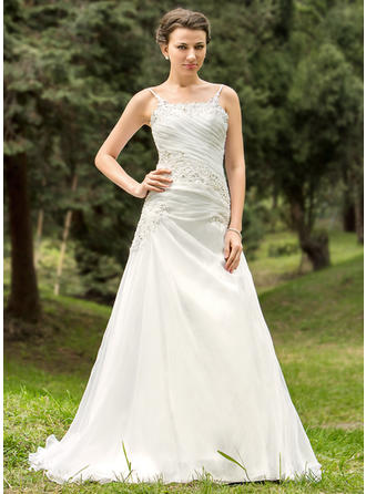 Organza A-Line/Princess Court Train Strapless Wedding Dresses