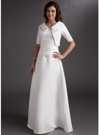 A-Line/Princess Satin Sleeveless V-neck Floor-Length Zipper Up Mother of the Bride Dresses