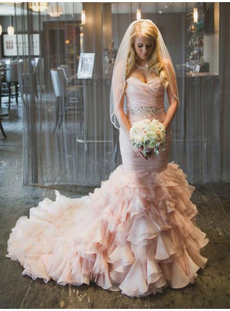 Sweetheart Trumpet/Mermaid Wedding Dresses Organza Cascading Ruffles Sleeveless Court Train
