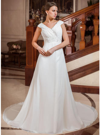 Stunning Chapel Train A-Line/Princess Wedding Dresses Sweetheart Chiffon Sleeveless (002211288)