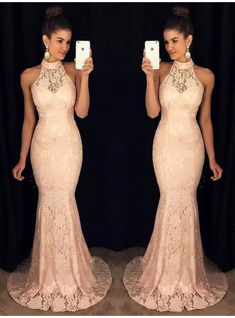 Trumpet/Mermaid High Neck Sweep Train Lace Prom Dress With Ruffle