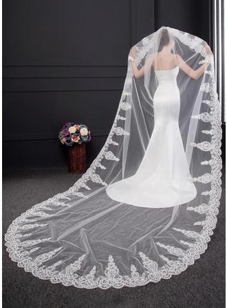 Uno capa Con Aplicación de encaje Velos de novia catedral con Encaje