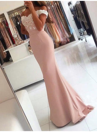 Trumpet/Mermaid Off-the-Shoulder Sweep Train Satin Evening Dresses With Appliques Lace