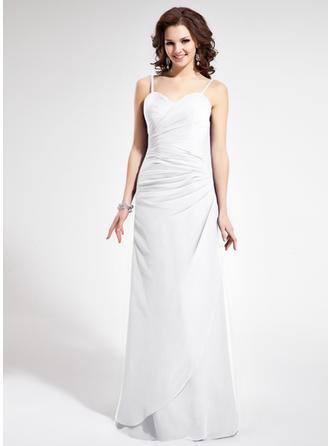 Sheath/Column Chiffon Bridesmaid Dresses Ruffle Sweetheart Sleeveless Floor-Length