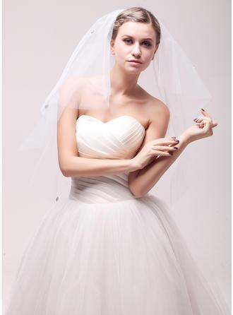 Zweischichtig Schnittkante Fingerspitze Braut Schleier mit Strasssteine
