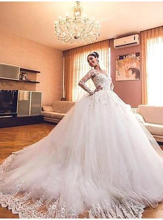 Elegant V-neck Ball-Gown Wedding Dresses Court Train Tulle Long Sleeves
