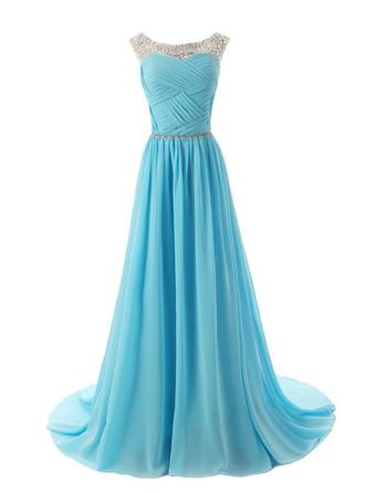 A-Line/Princess Scalloped Neck Sweep Train Evening Dress With Ruffle Sash Beading