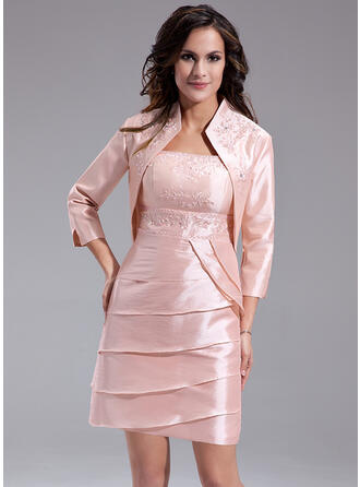 Sheath/Column Square Neckline Short/Mini Taffeta Mother of the Bride Dress With Beading Cascading Ruffles