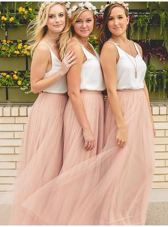 A-Line/Princess V-neck Floor-Length Chiffon Tulle Bridesmaid Dress (007144965)
