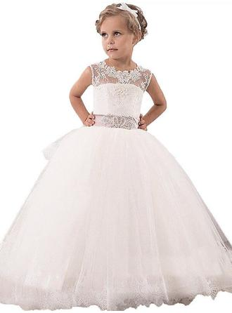 Ball Gown Scoop Sleeveless Lace Floor-Length Tulle Flower Girl Dresses