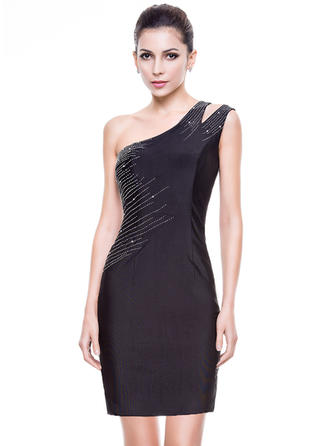 Sheath/Column Jersey Cocktail Dresses Beading One-Shoulder Sleeveless Short/Mini