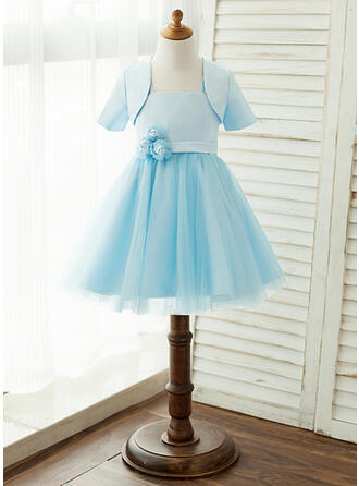 A-Line/Princess Knee-length Flower Girl Dress - Satin/Tulle Sleeveless Square Neckline With Flower(s) (Wrap included)