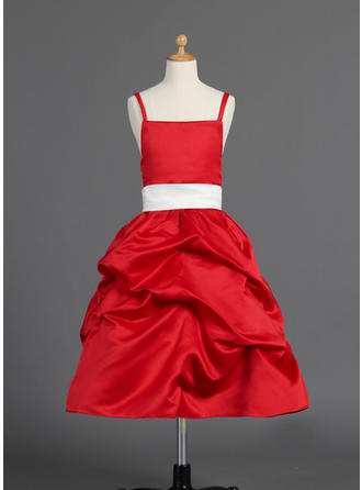 Luxurious A-Line/Princess Sash/Bow(s)/Pick Up Skirt Sleeveless Satin Flower Girl Dresses