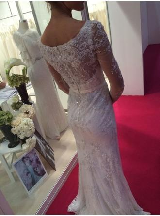 Sheath/Column Scoop Floor-Length Sweep Train Wedding Dress With Lace Sash Beading