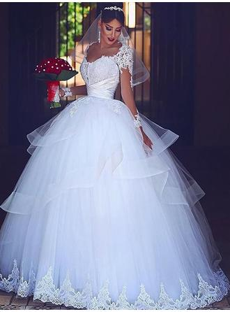Sweetheart Ball-Gown Wedding Dresses Tulle Lace Cascading Ruffles Long Sleeves Floor-Length