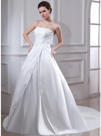 Glamorous Chapel Train Ball-Gown Wedding Dresses Strapless Satin Sleeveless
