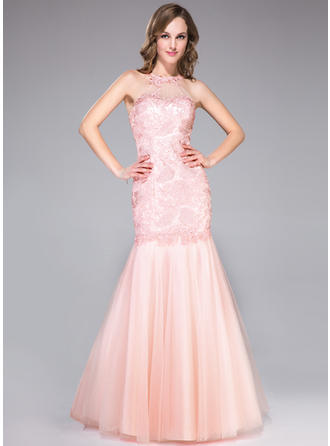 Trumpet/Mermaid Tulle Lace Prom Dresses Ruffle Beading Scoop Neck Sleeveless Floor-Length