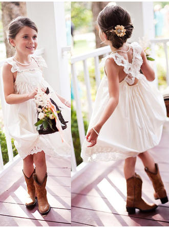 A-Line/Princess/A-Line/Princess Square Neckline Knee-length With Lace Chiffon Flower Girl Dress (010145224)