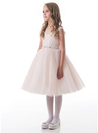 A-Line/Princess Scoop Neck Knee-length Tulle Sleeveless Flower Girl Dresses