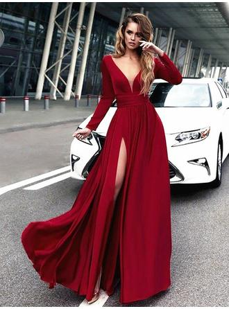A-Line/Princess Satin Chic Floor-Length V-neck Long Sleeves