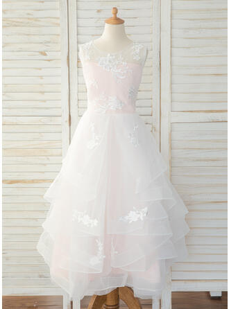 A-Line Floor-length Flower Girl Dress - Tulle/Lace Sleeveless Scoop Neck With Back Hole