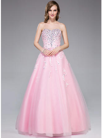 Tulle Sleeveless Floor-Length - Ball-Gown Prom Dresses