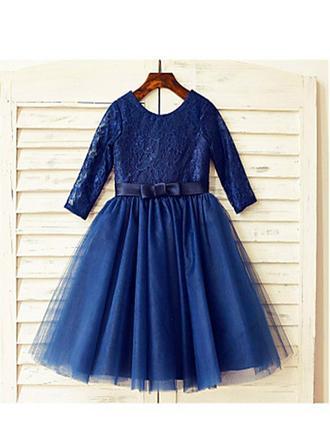 Elegant Tea-length A-Line/Princess Flower Girl Dresses Scoop Neck Tulle/Lace Long Sleeves (010211887)