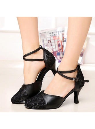Women's Ballroom Heels Pumps Real Leather With Ankle Strap Dance Shoes