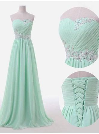 Chiffon Sleeveless A-Line/Princess Bridesmaid Dresses Sweetheart Ruffle Floor-Length (007211576)