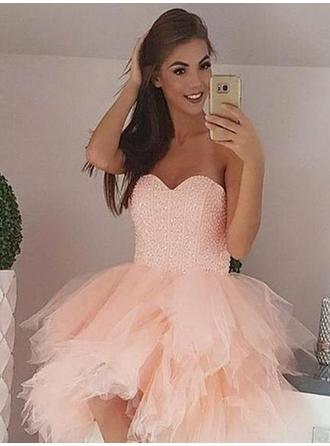 Beading Sweetheart Tulle Ball-Gown Homecoming Dresses