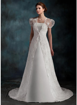 Luxurious Court Train A-Line/Princess Wedding Dresses Sweetheart Satin Sleeveless