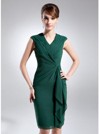 Sheath/Column Chiffon Sleeveless V-neck Knee-Length Zipper Up Mother of the Bride Dresses