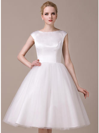 Scoop A-Line/Princess Wedding Dresses Satin Tulle Sleeveless Knee-Length