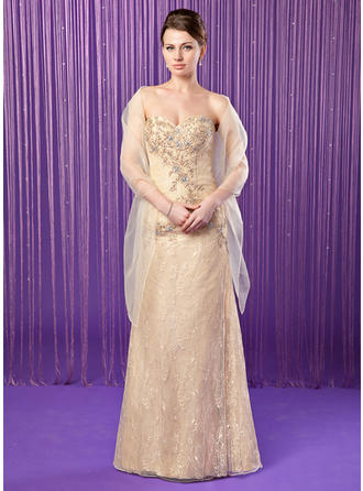 Sheath/Column Sweetheart Lace Sleeveless Floor-Length Beading Sequins Mother of the Bride Dresses