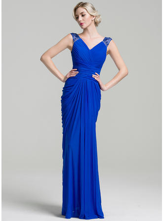 Jersey Sleeveless Mother of the Bride Dresses V-neck Trumpet/Mermaid Ruffle Beading Floor-Length