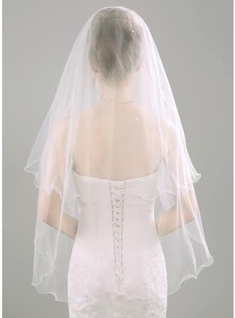 Two-tier Scalloped Edge Fingertip Bridal Veils With Faux Pearl