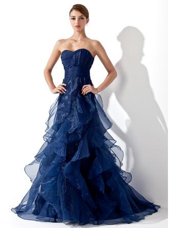 A-Line/Princess Sweetheart Sweep Train Organza Prom Dress With Cascading Ruffles