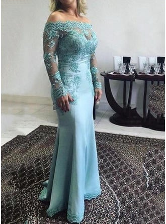 Satin Long Sleeves Mother of the Bride Dresses Off-the-Shoulder Trumpet/Mermaid Lace Appliques Lace Floor-Length