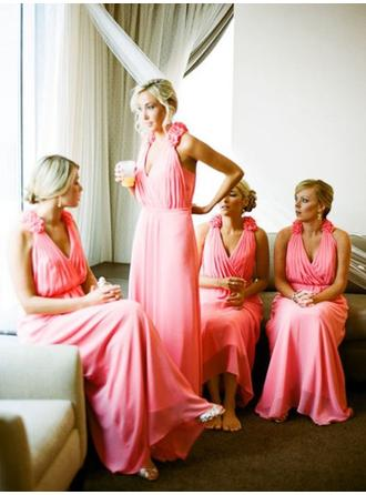 Bridesmaid Dresses Halter A-Line/Princess Sleeveless Floor-Length