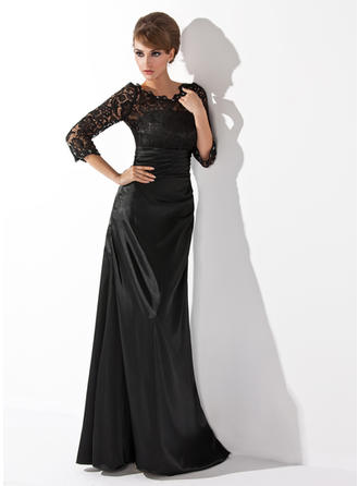 A-Line/Princess Scoop Neck Floor-Length Charmeuse Lace Mother of the Bride Dress With Ruffle Beading (008006037)