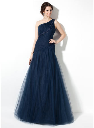 A-Line/Princess One-Shoulder Floor-Length Prom Dresses With Ruffle Beading Appliques Lace