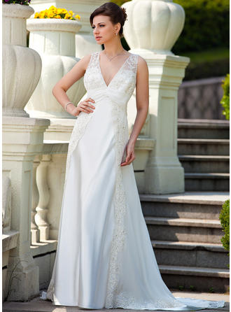 Fashion Court Train A-Line/Princess Wedding Dresses Sweetheart Chiffon Charmeuse Sleeveless