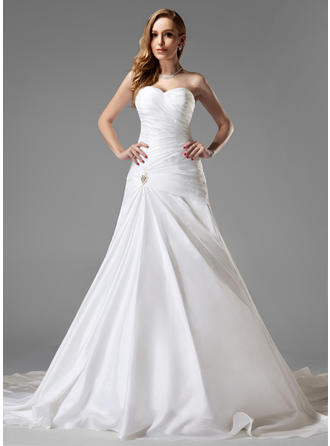 A-Line/Princess Chapel Train Wedding Dress With Ruffle Crystal Brooch